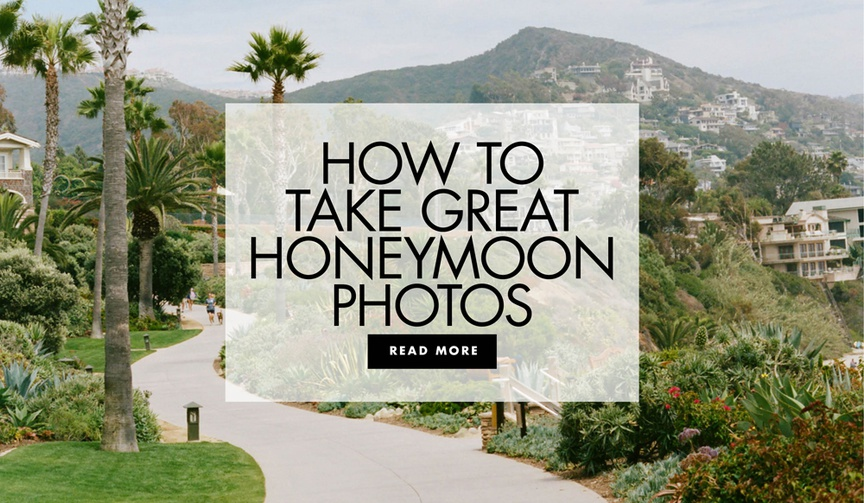 palm tree-lined pathway with hills in the background, how to take honeymoon photos