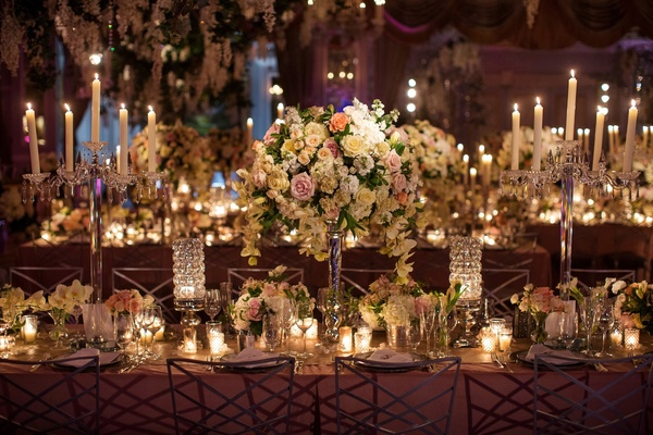 Silver and crystal candelabra and round arrangements