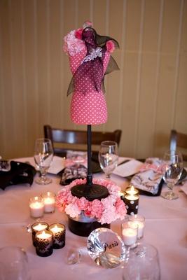 polka dot mannequin centerpiece pink