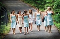 teddi mellencamp walks with bridesmaids in blue dresses
