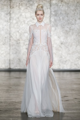 Inbal Dror Fall 2018 Long sleeve beaded gown with collar and open back and Point D'esprit skirt