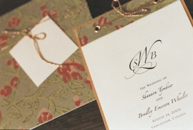 Wedding stationery with floral motif for wedding program