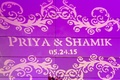 purple light projection with bride and groom's name and wedding date
