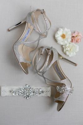 Jimmy choo lang glitter silver shoes chrome heels, bridal belt bling
