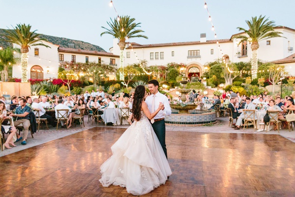 wedding reception hummingbird nest ranch bride in galia lahav wedding dress dance floor first dance