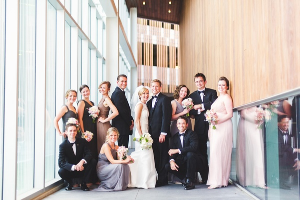 bridal party in mismatched dresses