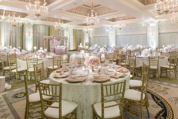 wedding reception ballroom casa del mar blush ivory gold decor hint of blue elegant reception