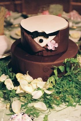 Custom cake designed to look like button down tuxedo