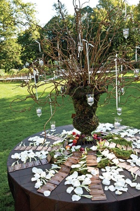 Wooden escort cards on mossy table with natural centerpiece