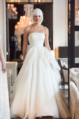 989ff54990 Yumi Katsura Spring 2018 bridal wedding dress Fleur strapless ball gown  peplum overskirt origami.