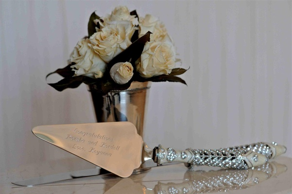 Crystal and Ivory cake cutter handle with engraving