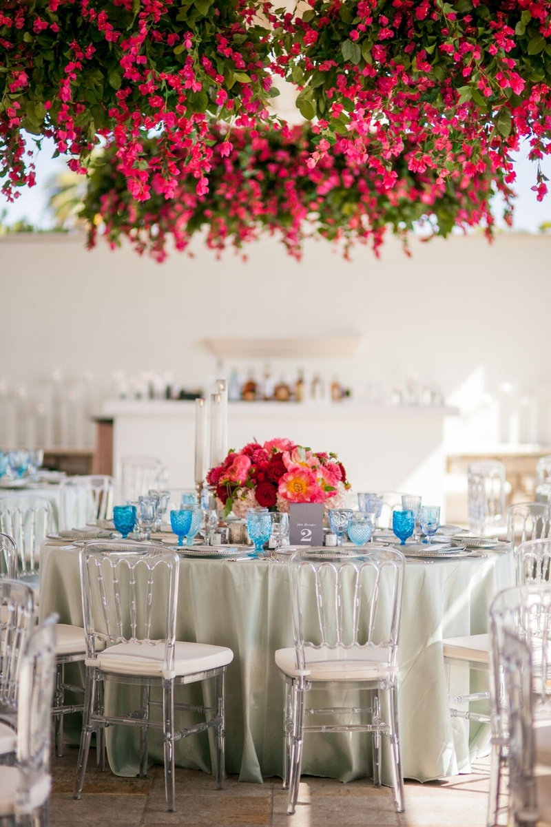 Guests dined under a ceiling of Bougainvillea.
