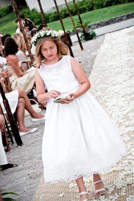 White flower girl dress and sandals