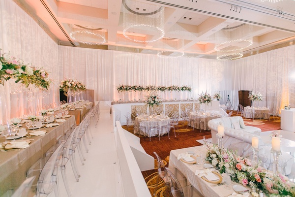 Wedding reception with stadium seating upper level around room and lower level in center