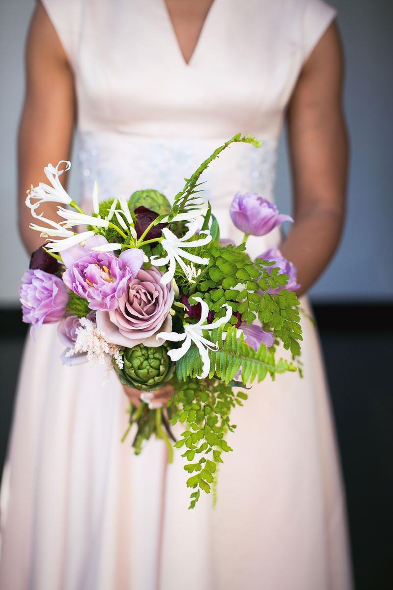 Wedding bouquet bridesmaid greenery artichoke purple flower amaranthus scabiosa white flowers