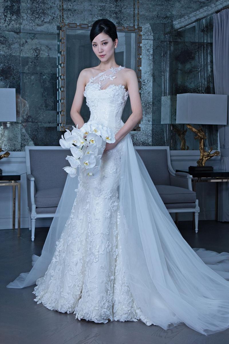 Romona Keveža fall 2019 bridal collection wedding dress RK9508 One-shoulder gown floral appliqués