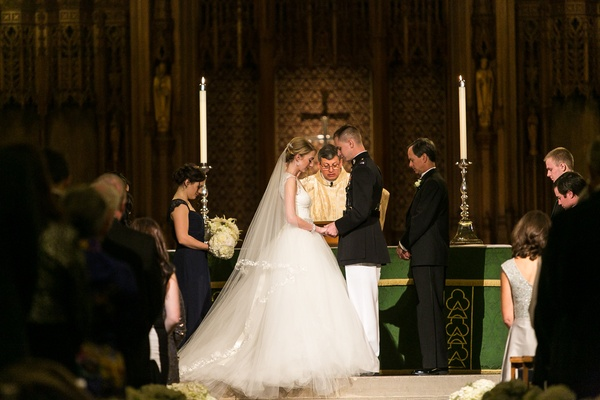 Bride and military groom at Duke Chapel altar