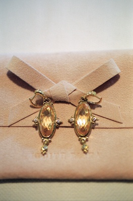 Antique-style clip on earrings with amber stone