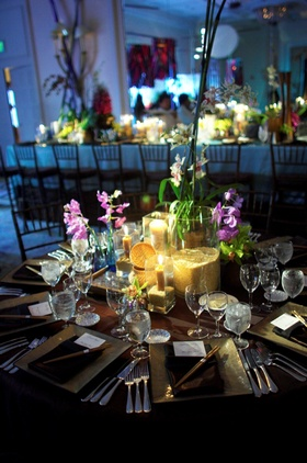 Colorful decor including orchid flowers and brown rice