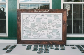 find your island escort card display place settings map green themed maine wedding creative ideas