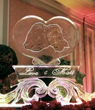 Ice sculpture engraved with photo of bride and groom