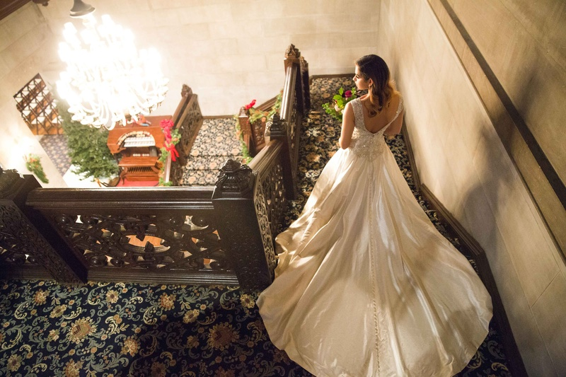 bride long ball gown descending stairs ersa atelier wedding styled shoot vintage train estate