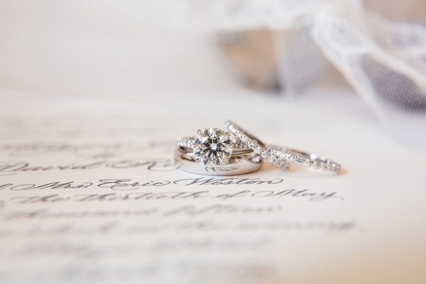 wedding rings or bands sitting on top of paper with cursive calligraphy delicate