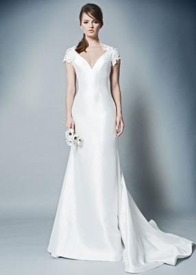 ROMONA by Romona Keveza Fall 2018 v neck silk gown wedding dress with cap sleeve lace shrug