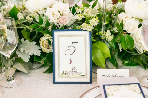 United States Marine Corps War Memorial illustration drawing on wedding reception table number