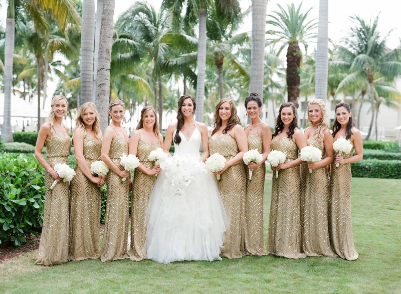 Bride In White Halter V Neck Vera Wang Wedding Dress With Bridesmaids In  Gold Sequin