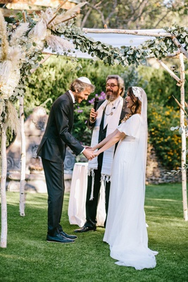 outdoor wedding ceremony jewish chuppah boho pampas grass birch park greenery