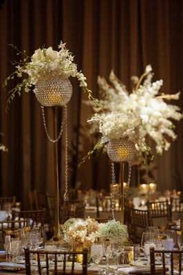new year's eve wedding reception decor, crystal and floral centerpieces