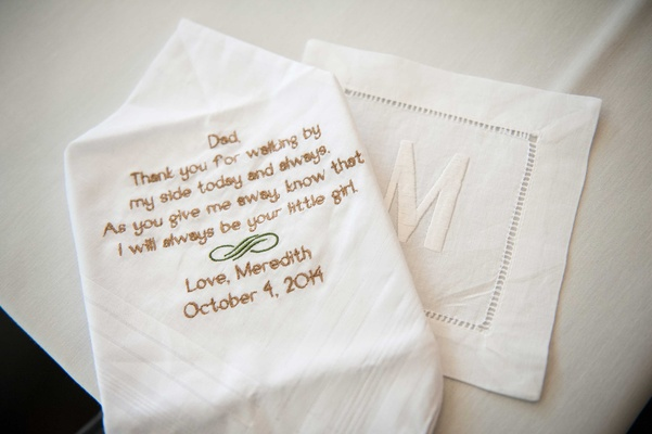 Father of the Bride theme wedding with handkerchief featuring sweet poem note