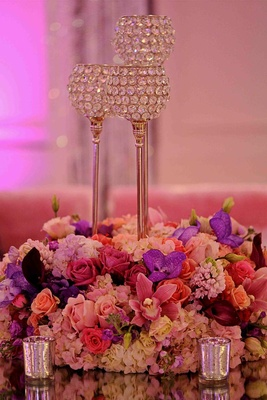 Low vibrant arrangements and mercury-glass votives