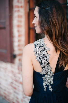 Navy blue bridesmaid dress with crystal-embellished strap