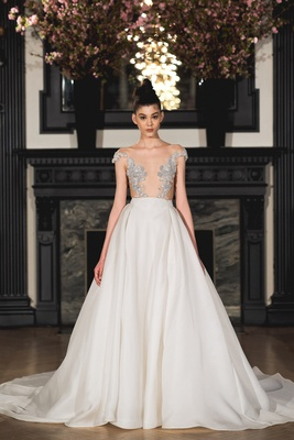 Embellished feminine off the shoulder illusion bodice with natural waist, circular skirt and diamond
