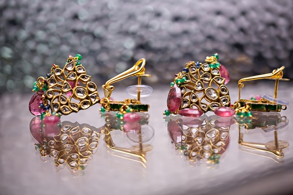 indian wedding, gold pink and green earrings
