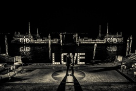 black and white photo, vizcaya museum and gardens wedding, love marquee light