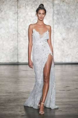 Inbal Dror Fall 2018 Spaghetti strap jeweled lace slip dress with side drape