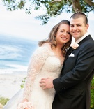 Newlyweds portrait with Pacific ocean backdrop