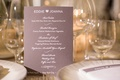 reception dinner menu subtle purple hues colors pink calligraphy new york city jewish wedding food