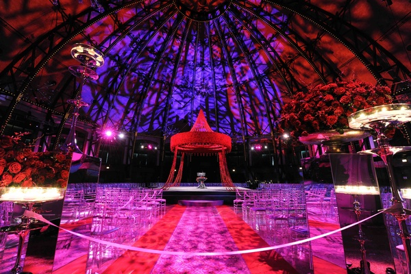 Indian Wedding Under Dome With Colorful Lighting