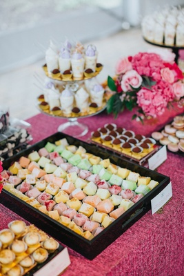 mesa de postres, latin desserts, dessert table at wedding