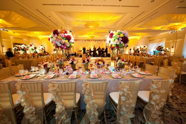 Vintage inspired wedding chair backs and view of dance floor