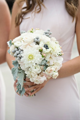 Bridesmaid bouquet with dahlia, rose, anemone, brunia berry, dusty miller, lamb's ear