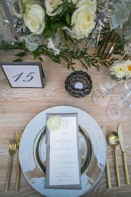 wood rustic table silver charger gold flatware menu card calligraphy personalized white flower