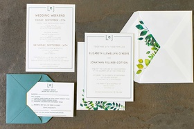 wedding invitation light blue envelope yellow green foliage envelope liner invitation reply card