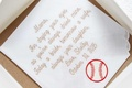 Handkerchief gift for mother of bride with baseball embroidery and script font