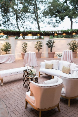 lounge furniture at wedding reception outdoor lounge white nailhead furniture pink linens