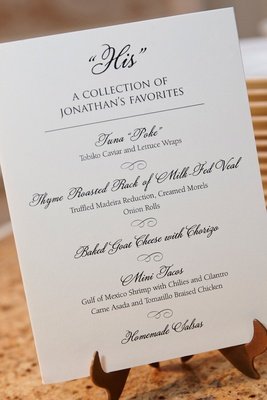 Wedding menu buffet area with collection of groom's favorites poke veal tacos and